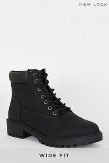 New Look Wide Fit Leather Look Lace Up Boots