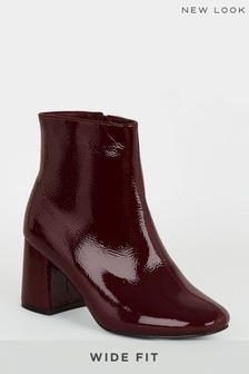New Look Wide Fit Flared Heel Ankle Boots