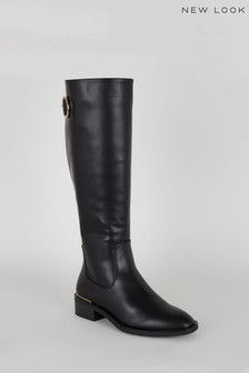 New Look Leather Look Ring Buckle Knee High Boots