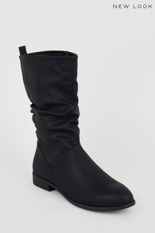 New Look Leather Look Slouch Calf Boots