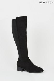 New Look Suedette Elasticated Knee High Boots