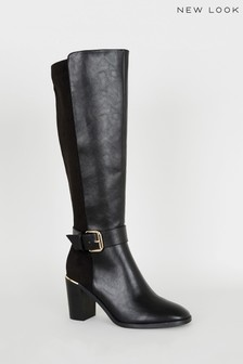 New Look Leather Look Heeled Knee High Boots