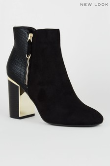 New Look Faux Snake Panel Heeled Ankle Boots