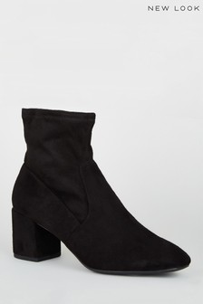 New Look Suedette Square Toe Sock Boots