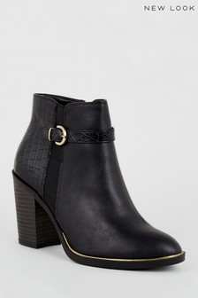 New Look Faux Croc Panel Heeled Ankle Boots
