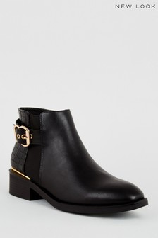 New Look Faux Croc Panel Ankle Boots