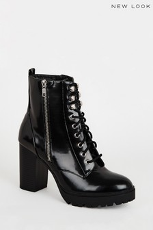 New Look Patent Lace Up Chunky Heeled Boots