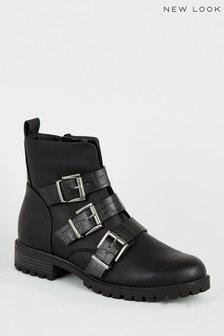 New Look Faux Croc Strap Biker Boots