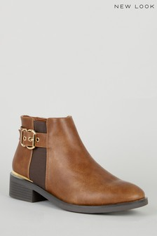 New Look Leather Look Ankle Boots