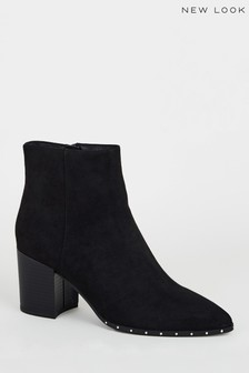 New Look Suedette Stud Trim Heeled Ankle Boots