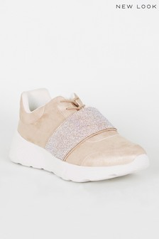 New Look Suedette Gem Embellished Trainers