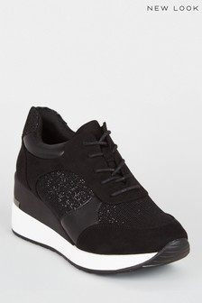 New Look Suedette Glitter Panel Chunky Trainers