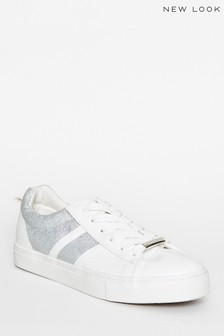 New Look Leather Look Glitter Lace Up Trainers