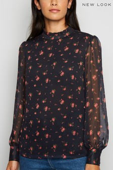 New Look Rose High Neck Chiffon Blouse