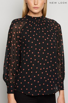 New Look Spot Long Sleeve Blouse