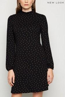 New Look Spot Pie Crust Long Sleeve Dress