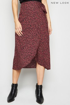 New Look Abstract Spot Wrap Midi Skirt