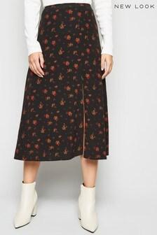 New Look Rose Side Split Midi Skirt