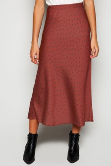 New Look Spot Satin Bias Cut Midi Skirt