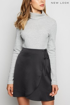 New Look Satin Wrap Mini Skirt