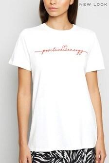 New Look Heart Positive Energy Slogan T-Shirt
