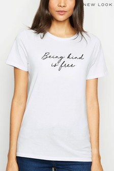 New Look Being Kind Is Free Flocked Slogan T-Shirt