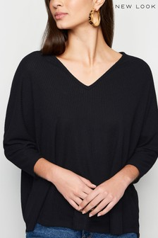 New Look V Neck Fine Knit Top