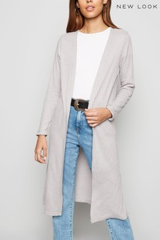 New Look Fine Knit Rib Longline Cardigan