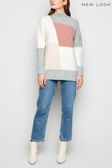 New Look Colour Block Longline Jumper