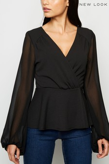 New Look Chiffon Long Sleeve Wrap Top