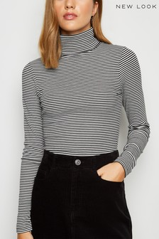 New Look Ribbed Stripe Roll Neck Top
