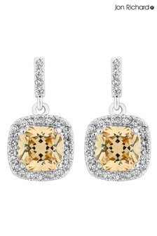 Jon Richard Bridal Cubic Zirconia Cushion Square Drop Earring
