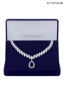 Jon Richard Plated Cubic Zirconia Baguette Navette  Pear Drop Necklace - Gift Boxed