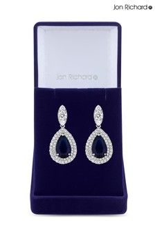 Jon Richard Bridal Plated Cubic Zirconia Baguette Navette  Pear Drop Earring - Gift Boxed