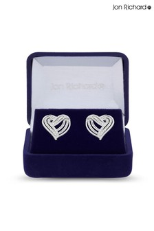 Jon Richard Bridal Plated Clear Cubic Zirconia Heart Stud Earring