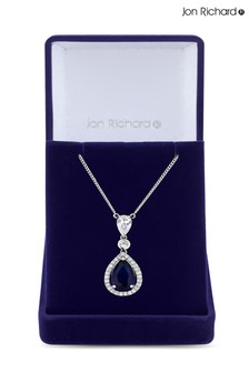Jon Richard Cubic Zirconia Tennis Pear  Drop Pendant Necklace - Gift Boxed