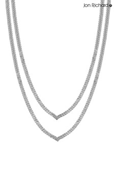 Jon Richard Bridal Cubic Zirconia Double V Shape Collar Necklace