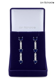 Jon Richard Bridal Cubic Zirconia Sapphire Blue Heart Tennis Drop Earring - Gift Boxed