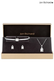 Jon Richard Crystal Pave Square Drop Trio Box Set