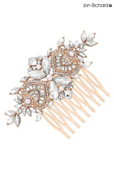 Jon Richard Bridal Plated Clear Crystal Navette Hair Comb