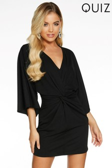 Quiz Knot Front Batwing Sleeve V neck Dress