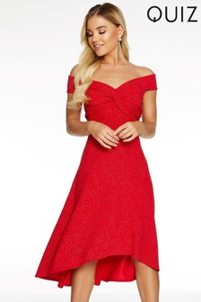 Quiz Glitter Bardot Dip Hem Midi Dress