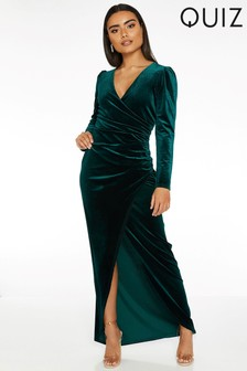 Quiz Velvet Wrap Maxi Dress