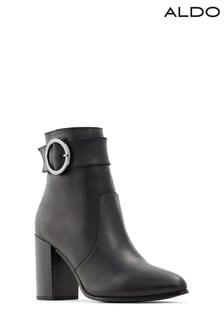 Aldo Block Heel Buckle Ankle Boot