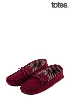Totes Check Lined Suedette Mocc Slipper