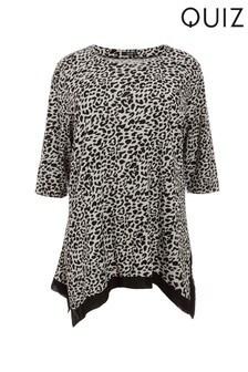 Quiz Curve Leopard Print Light Knit Top