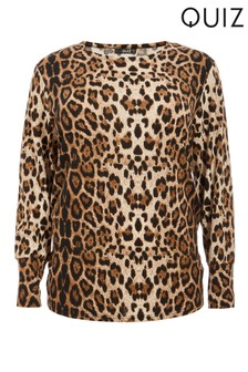 Quiz Curve Leopard Print Light Knit Top