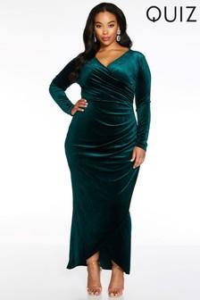 Quiz Curve Velvet Wrap Fron Maxi Dress