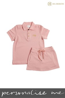 Personalised Mini Girls Short Top And Skirt Set By HA Designs