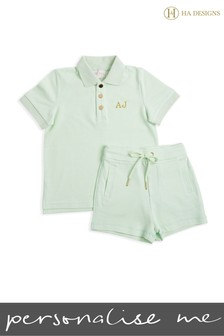 Personalised Mini Boys Short Top And Skirt Set By HA Designs